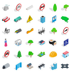 construction icons set isometric style vector image