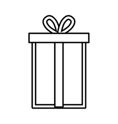 gift box ribbon package decor linear vector image vector image