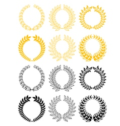 gold and black laurel wreaths vector image vector image