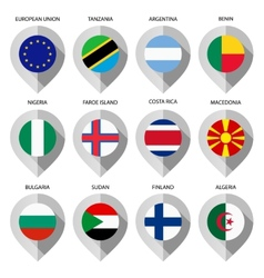 Marker from paper with flag for map - set second vector image vector image
