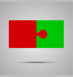 red green piece puzzle jigsaw 2 step vector image vector image