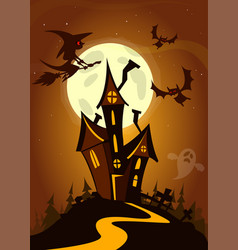 scary house on night background cartoon vector image vector image