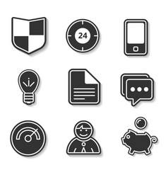 set of black and white flat icons for websites and vector image vector image
