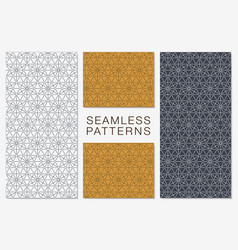 set of minimalist seamless patterns hexagonal vector image
