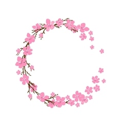 Spring wreath with cherry blossoms Place for text vector image vector image