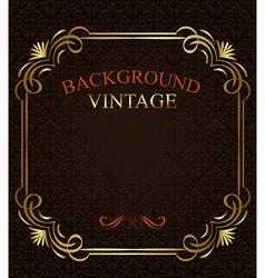 Vintage background with golden frame vector image vector image