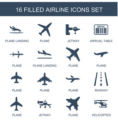 16 airline icons vector