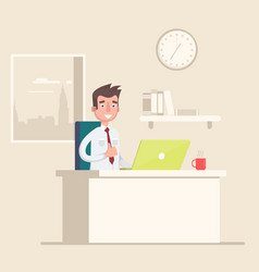 a man sits on the workplace at the office vector image