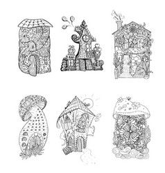 Adult coloring book pages mono color black ink vector