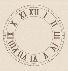 ancient clock face with roman numerals on beige vector image
