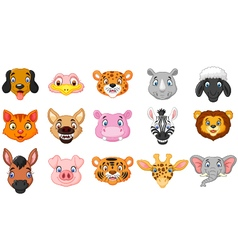 Animal head cartoon collection vector