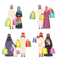 Arab family shopping muslim happy people male vector
