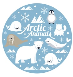 Arctic Animals Label vector