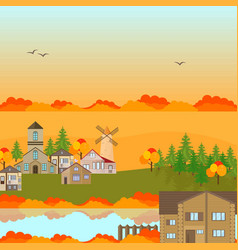 Autumn village town background vector