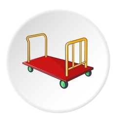 Baggage cart icon cartoon style vector