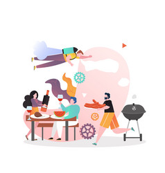 bbq party concept for web banner website vector image