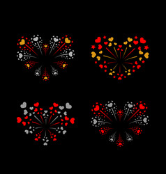 Beautiful heart-fireworks set bright romantic vector