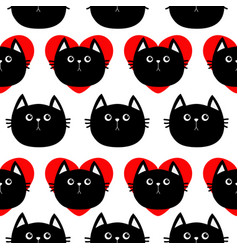 Black cat head with red heart cute cartoon vector