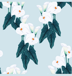 blue calla lilies flower pattern vector image