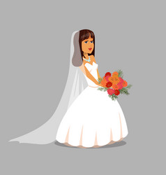 Bride with flower bouquet vector