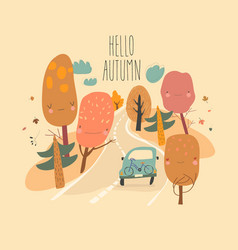 car is driving on road through autumn forest vector image
