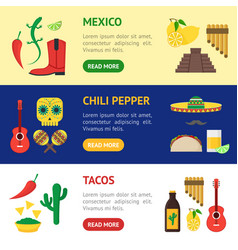 cartoon mexican culture banner horizontal set vector image