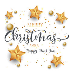 christmas background with decorative text stars vector image