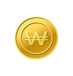 Coin icon korean won sign golden vector
