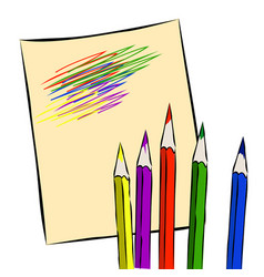 colored pencils on a sheet of paper vector image