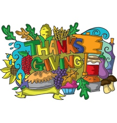 Colorful thanksgiving of doodle art vector
