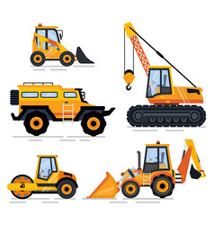construction equipment and machinery transport vector image