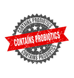 Contains probiotics grunge stamp with red band vector