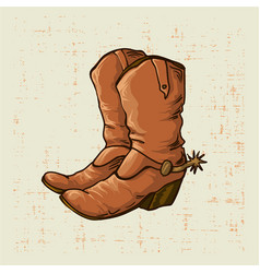Cowboy boots in old style with grunge screen vector