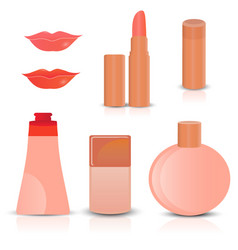 creative cosmetics and makeup icons vector image