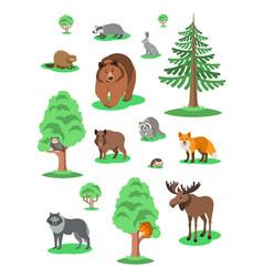 Cute forest animals kids cartoon vector