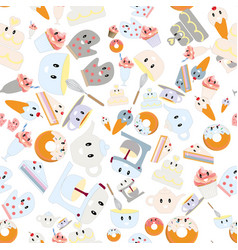 cute kitchen cartoon seamless pattern vector image