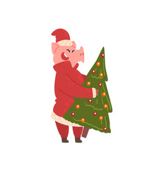 Cute pig carrying christmas tree funny piggy vector