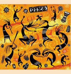 Dancing figures in a primitive style vector