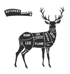 Deer meat cuts black vector image