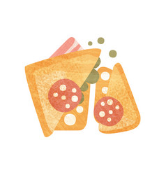 delicious sandwich with slices of sausage bacon vector image