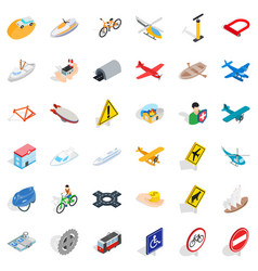 different transport icons set isometric style vector image