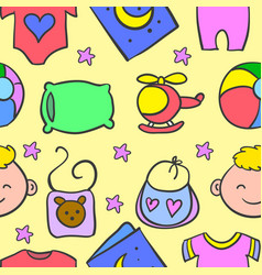 doodle of various element baby vector image