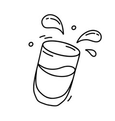 Falling clear cup with drink and drops black vector