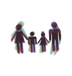 Family sign colorful icon shaked with vector