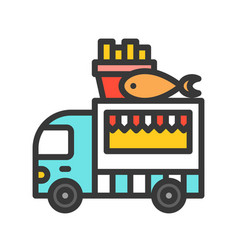 Fish and chips truck food truck filled style vector