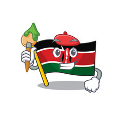 Flag kenya painter painter cartoon with character vector