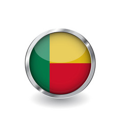 flag of benin button with metal frame and shadow vector image