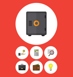 Flat icon gain set of scan portfolio strongbox vector
