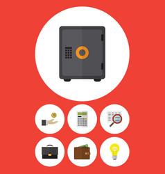 Flat icon gain set of scan portfolio strongbox vector