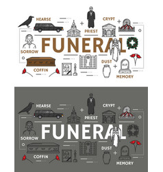 Funeral service and burial ceremony icons vector
